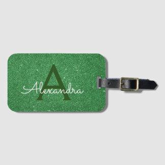 Etiqueta De Bagagem Nome verde do monograma do brilho da faísca do