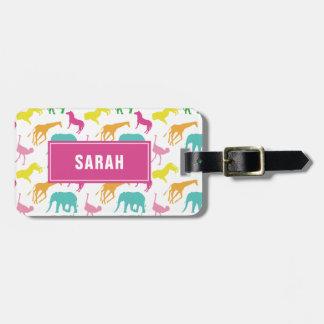 Etiqueta De Bagagem O animal formal do safari personaliza a menina da
