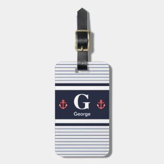 Etiqueta De Bagagem O branco náutico do marinho listra o monograma