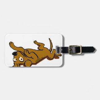 Etiqueta De Bagagem O cão feliz dos desenhos animados está