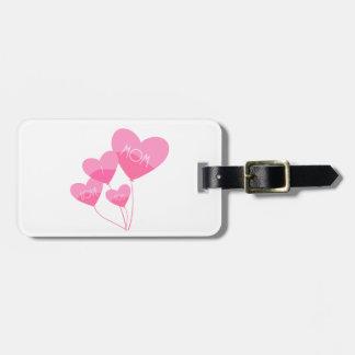 Etiqueta De Bagagem o coração cor-de-rosa balloons eu te amo a mamã
