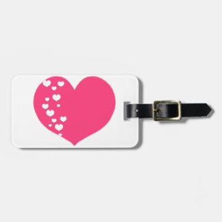 Etiqueta De Bagagem O coração segue o branco cor-de-rosa