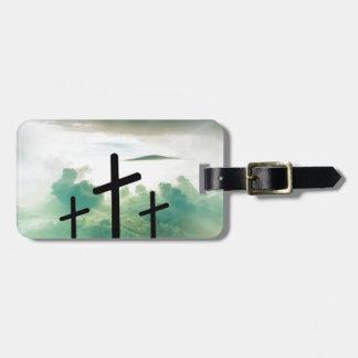 Etiqueta De Bagagem O deus transversal Jesus da fé do cristo nubla-se