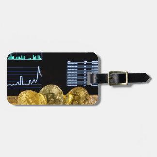 Etiqueta De Bagagem O mercado do circuito do trio de Bitcoin faz um