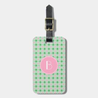 Etiqueta De Bagagem O monograma caçoa o Tag verde cor-de-rosa da