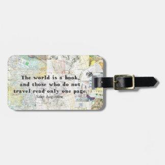 Etiqueta De Bagagem O mundo é umas CITAÇÕES do VIAGEM do livro