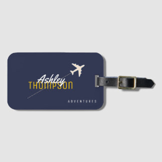 Etiqueta De Bagagem o nome & o avião para seu viagem aventuram-se o na