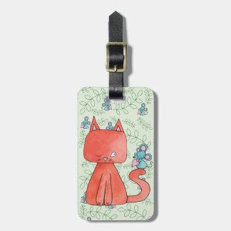 Etiqueta De Bagagem O rato bonito ama o gato do gatinho