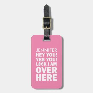 Etiqueta De Bagagem O Tag engraçado da bagagem com Emoji Eyes no rosa