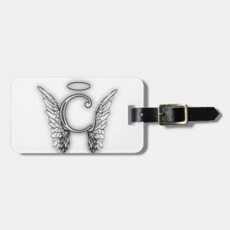 Etiqueta De Bagagem O último inicial do alfabeto C do anjo voa o halo