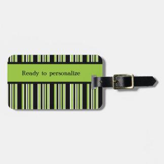 Etiqueta De Bagagem O verde listra pronto para personalizar