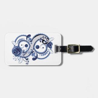 Etiqueta De Bagagem Oito florais azuis