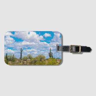 Etiqueta De Bagagem Olá! adeus o deserto do cacto do Saguaro nubla-se