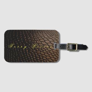 Etiqueta De Bagagem Olhar de couro preto Textured
