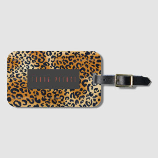 Etiqueta De Bagagem Olhar do leopardo Textured