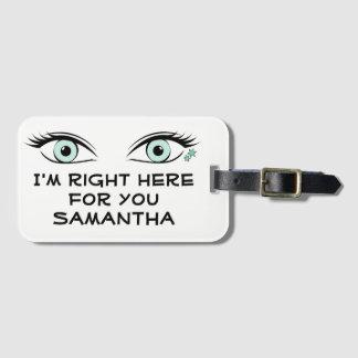 Etiqueta De Bagagem Olhos verdes espiando e identificação dos
