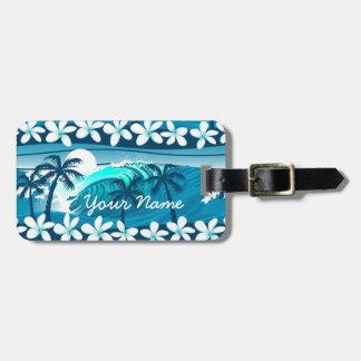 Etiqueta De Bagagem Onda tropical do surf com palma