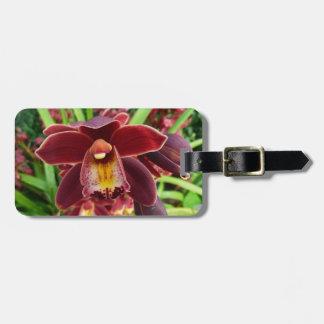 Etiqueta De Bagagem Orquídeas marrons mim floral vermelho bonito