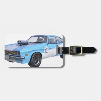 Etiqueta De Bagagem os anos 70 azuis e carro branco do músculo