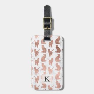 Etiqueta De Bagagem Os gatos cor-de-rosa do ouro do falso moderno