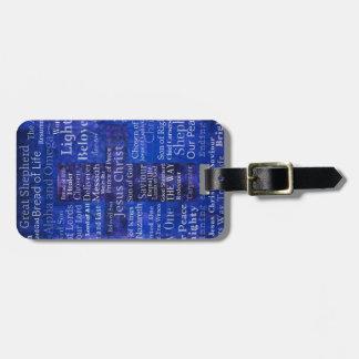 Etiqueta De Bagagem Os nomes da arte transversal azul do Jesus Cristo