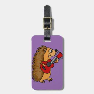 Etiqueta De Bagagem Ouriço bonito que joga a arte da guitarra