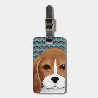 Etiqueta De Bagagem Ouro azul bonito do marinho de Chevron do cão de