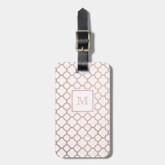Etiqueta De Bagagem Ouro cor-de-rosa e Tag branco da bagagem do