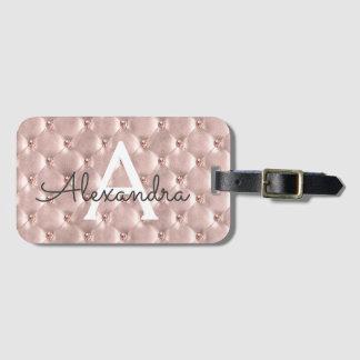 Etiqueta De Bagagem Ouro cor-de-rosa nome clássico Jeweled do