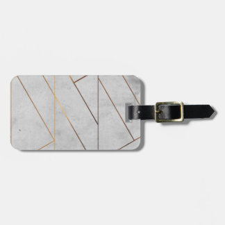 Etiqueta De Bagagem Ouro de mármore cinzento de Peronalized geométrico