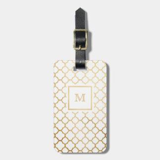 Etiqueta De Bagagem Ouro e Tag branco da bagagem do quatrefoil