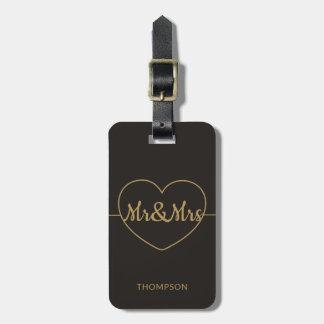 Etiqueta De Bagagem Ouro escuro elegante simples Mr&Mrs do falso