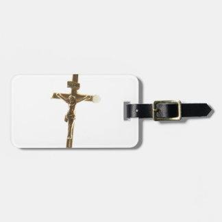 Etiqueta De Bagagem Ouro transversal do Jesus Cristo horizontal