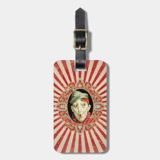 Etiqueta De Bagagem Palhaço de circo do vintage e teste padrão retro