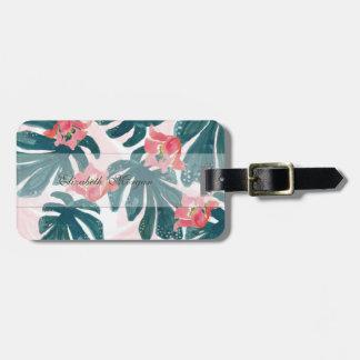 Etiqueta De Bagagem Palma tropical da aguarela, Hibiskus havaiano