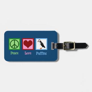 Etiqueta De Bagagem Papagaio-do-mar do amor da paz
