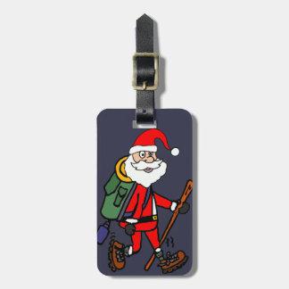 Etiqueta De Bagagem Papai Noel bonito que caminha desenhos animados do