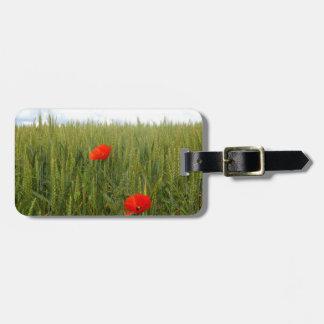 Etiqueta De Bagagem Papoilas em um Tag da bagagem do campo de trigo