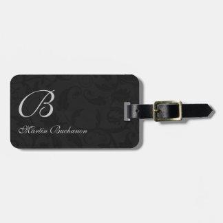 Etiqueta De Bagagem para o viajante - damasco preto Monogrammed