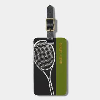 Etiqueta De Bagagem para um viagem do jogador de ténis, um preto &