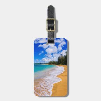 Etiqueta De Bagagem Paraíso tropical da praia, Havaí