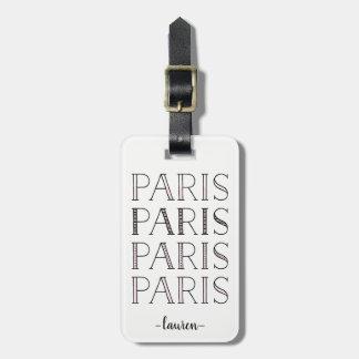 Etiqueta De Bagagem Paris Paris Paris | cora francês cor-de-rosa