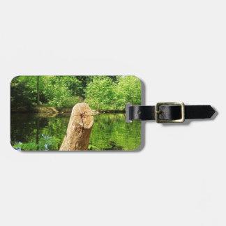Etiqueta De Bagagem Parque do lago photography da natureza do tronco