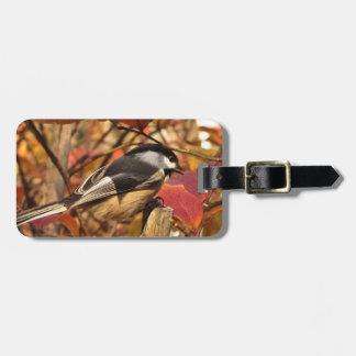 Etiqueta De Bagagem Pássaro do Chickadee com as folhas de outono rosas