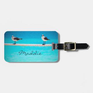 Etiqueta De Bagagem Pássaros brancos da gaivota pelo nome do costume