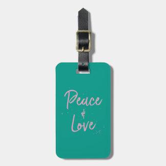 Etiqueta De Bagagem Paz-e-Amor-Cor-de-rosa