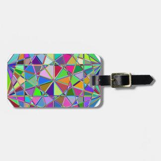 Etiqueta De Bagagem Pedra de gema tirada Kaleidescope colorida