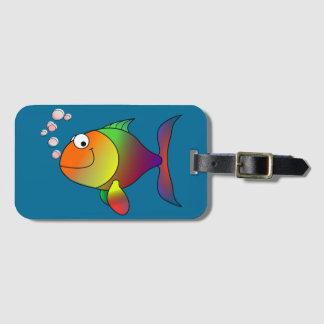 Etiqueta De Bagagem Peixe dourado alegre no mar