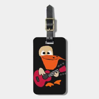 Etiqueta De Bagagem Pelicano engraçado que joga a arte da guitarra