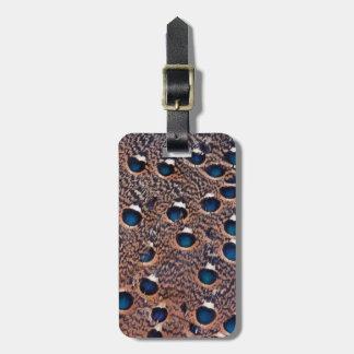 Etiqueta De Bagagem Penas manchadas azul do faisão do pavão